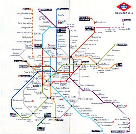 Plano esquemático de Metro de Madrid  diciembre 1998 ...