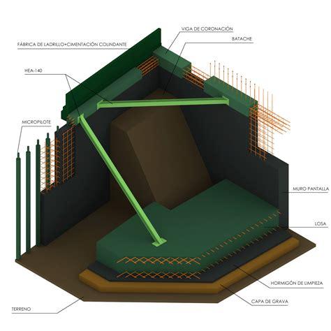 Plano y Escala Construcción y detalle de un muro pantalla ...
