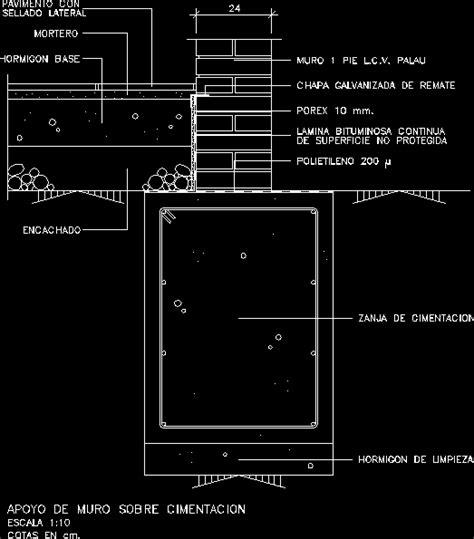Planos de Apoyo de muro sobre cimentacion en DWG AUTOCAD ...