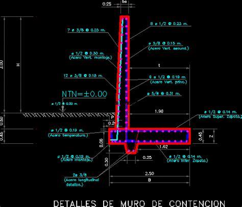 Planos de Muro de contencion, en Hormigón armado ...