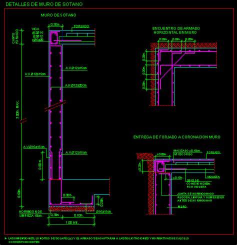 Planos de Muro de sotano en DWG AUTOCAD, Cimentaciones ...