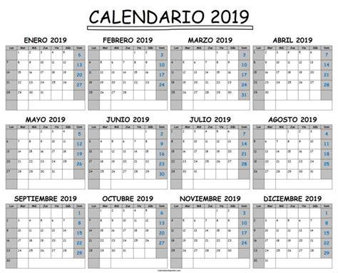 Plantilla De Calendario 2019 Excel | Plantilla calendario ...