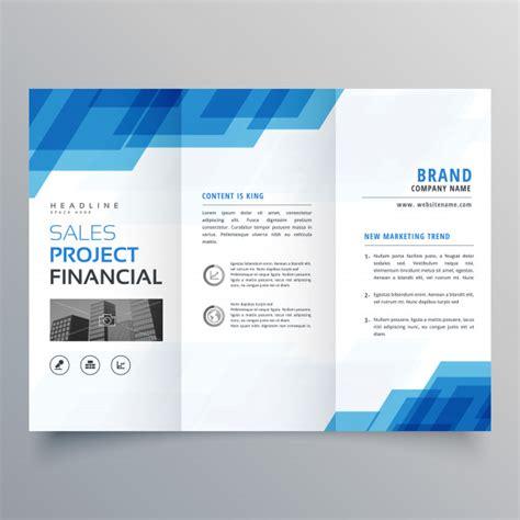 Plantilla de diseño de folleto azul tríptico geométrico ...