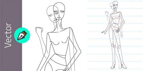 Plantilla de figurin femenino estilizado en vector