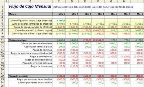 Plantilla Excel para armar un flujo de caja cash flow ...