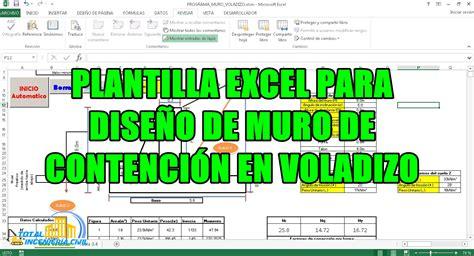 PLANTILLA EXCEL PARA DISEÑO DE MURO DE CONTENCIÓN EN ...