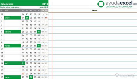 Plantillas calendario en Excel 2019   Ayuda Excel