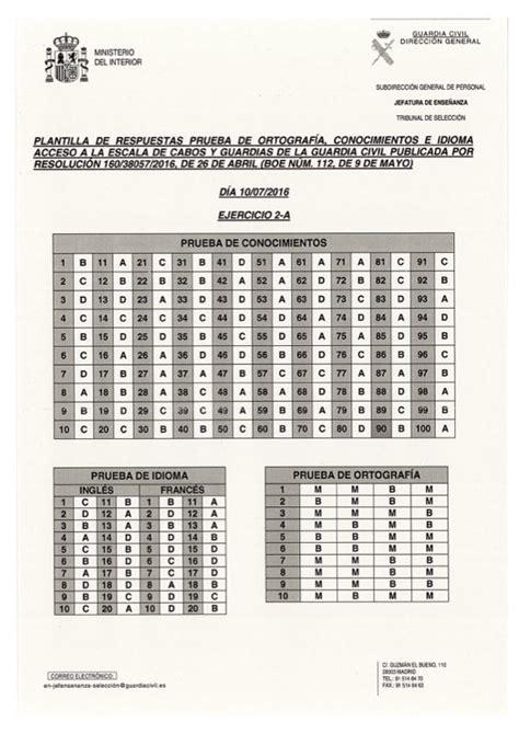 Plantillas de respuestas Examen Oposicion Guardia Civil 2016