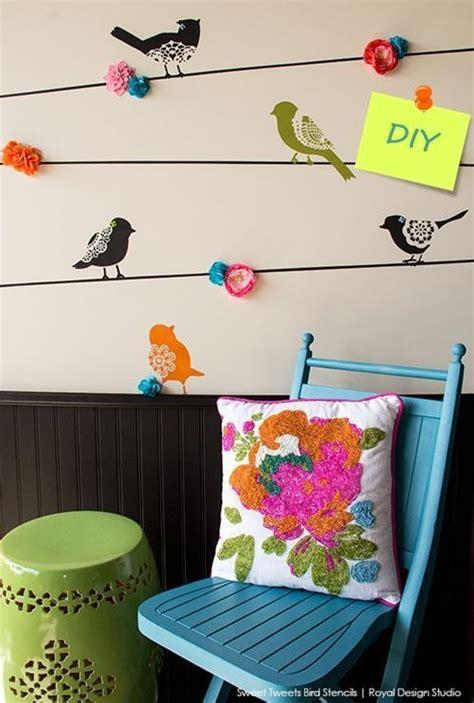 Plantillas para pintar paredes alegres con pájaros ...