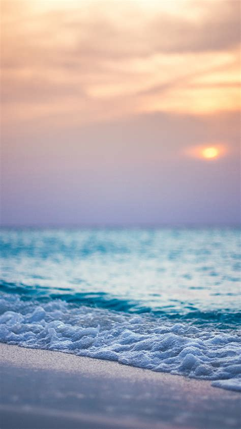 Playa, mar, puesta del sol, las olas iPhone X,8,7,6,5,4 ...