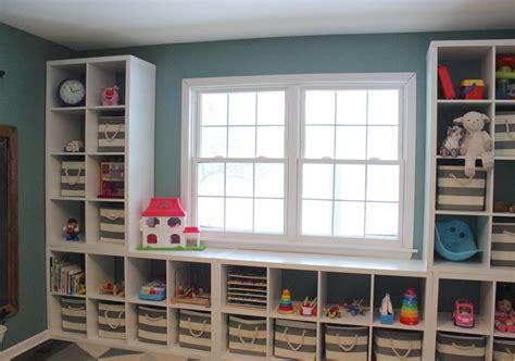 Playroom storage shelves  Ikea Kallax   cubbies  striped ...