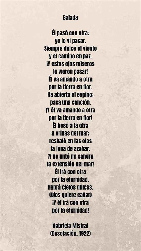 #Poema  Balada  Gabriela Mistral   Poemas, Gabriela ...