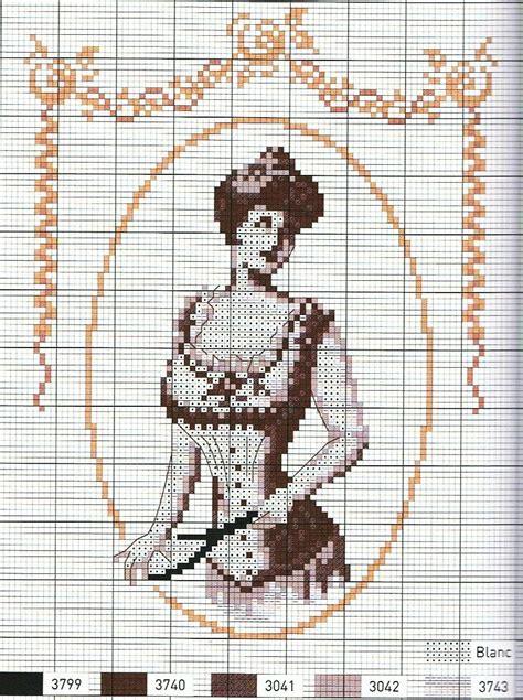 point de croix femme vintage en corset   cross stitch ...