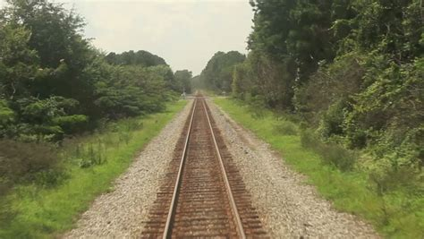 Point Of View Footage Of Train Moving Along Tracks Stock ...
