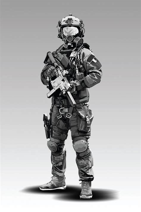 Policía armada militar preparándose para disparar con ...