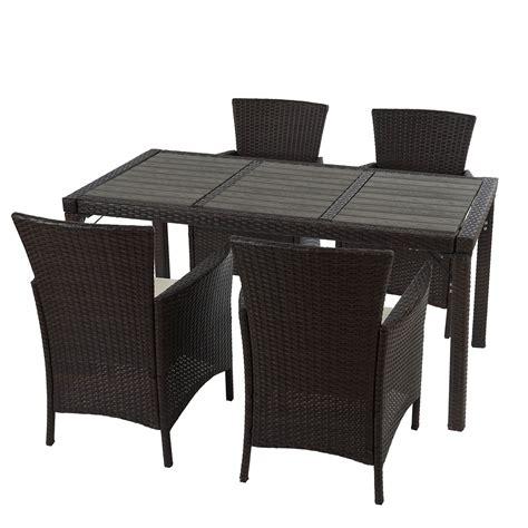 Poly muebles de jardín de ratán RomV, 4 sillas + mesa de ...