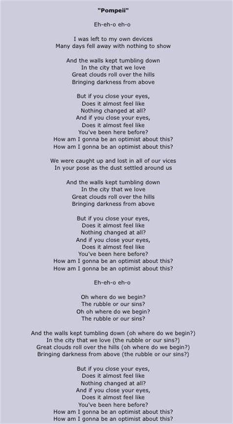 Pompeii lyrics  google search   Lyrics, Bastille lyrics ...