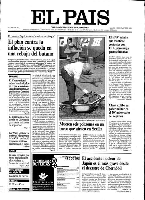 Portada 2 de Octubre de 1999   Aniversario EL PAÍS