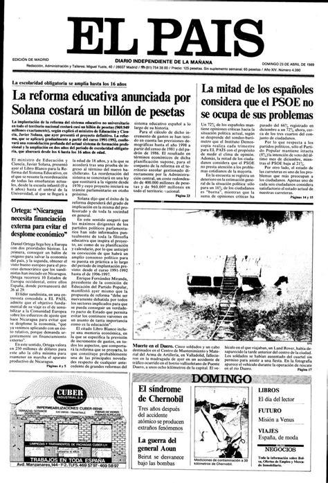 Portada 23 de Abril de 1989   Aniversario EL PAÍS