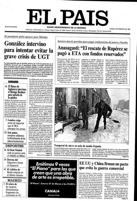 Portada 27 de Febrero de 1995   Aniversario EL PAÍS