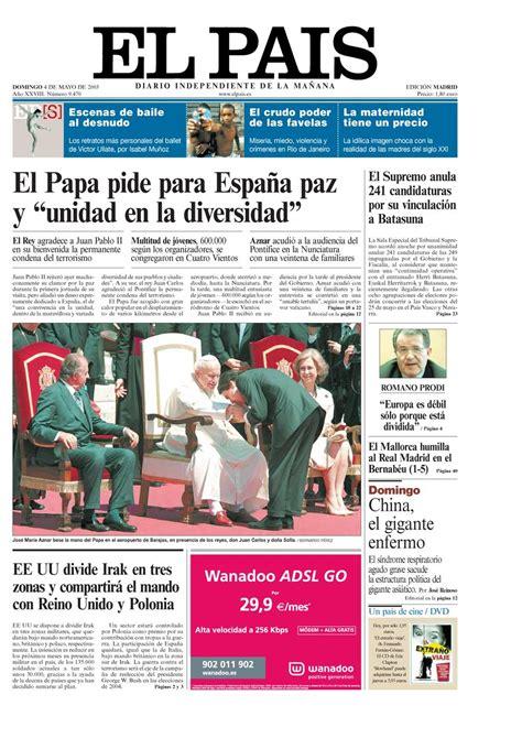 Portada 4 de Mayo de 2003   Aniversario EL PAÍS