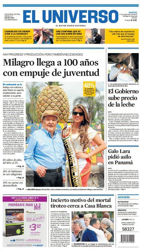 Portada de Diario EL UNIVERSO del martes 17 de septiembre ...