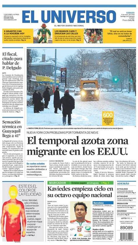 Portada de #DiarioELUNIVERSO del 4 de enero del 2014. Las ...