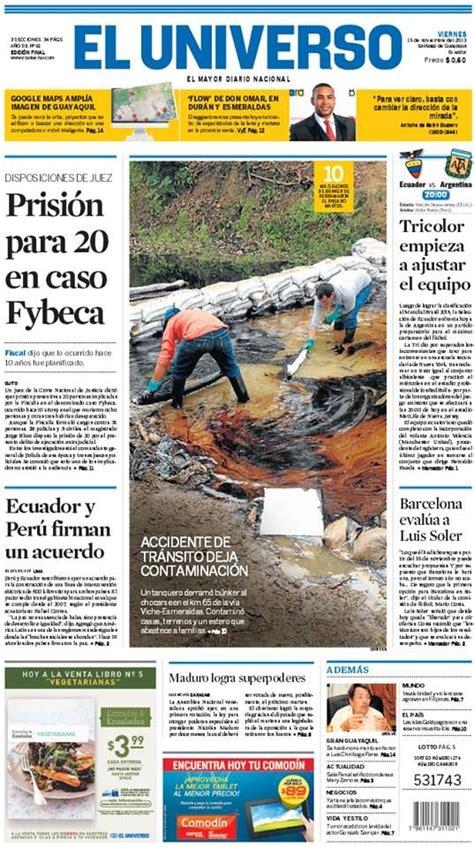 Portada de #DiarioELUNIVERSO del viernes 15 de noviembre ...
