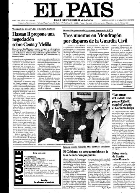 Portada de EL PAÍS del 16 11 1978