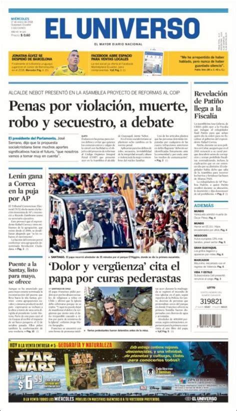 Portada de El Universo   Ecuador  Ecuador   con imágenes ...
