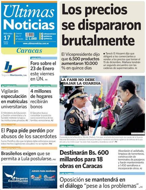 Portada de Últimas Noticias  Venezuela  | Periodicos ...