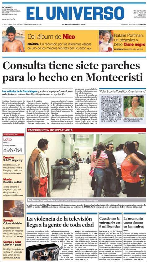 Portada del periódico El Universo   Ecuador  Ecuador ...