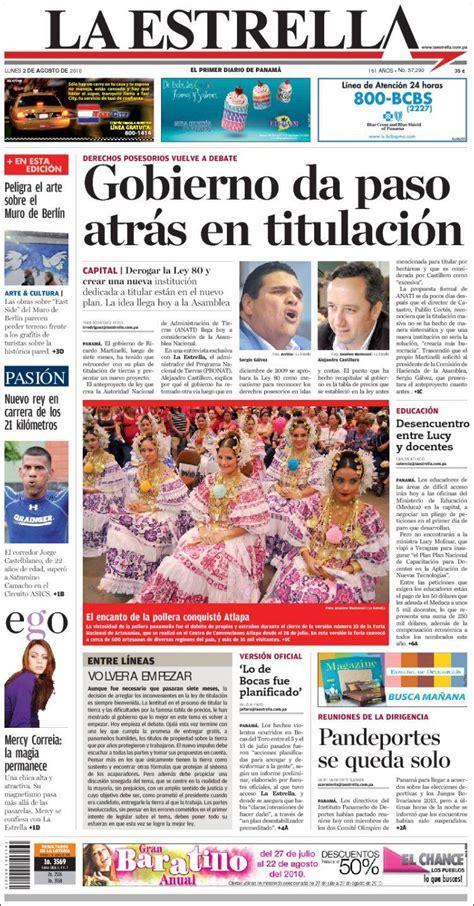 Portada del periódico La Estrella de Panamá  Panamá ...