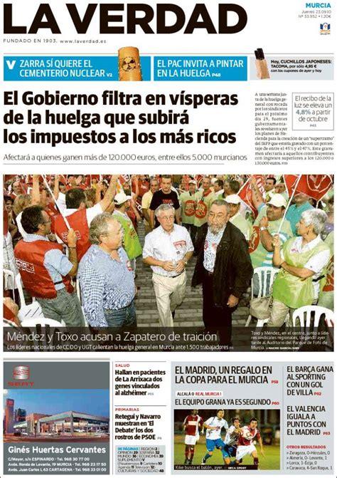 Portada del periódico La Verdad de Murcia  España . Todos ...