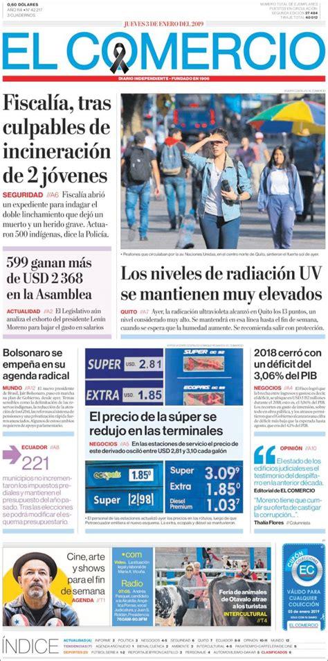 Portada Jueves 03 Enero El Comercio  Ecuador    ALnavío ...