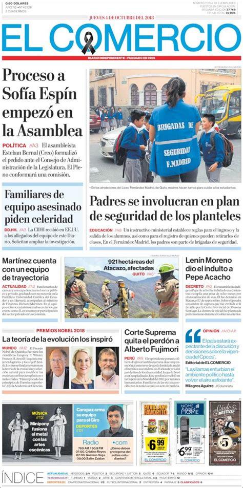 Portada Jueves 04 de Octubre El Comercio  Ecuador ...