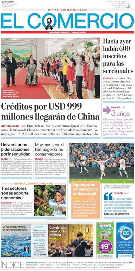 Portada Jueves 13 de Diciembre El Comercio  Ecuador ...