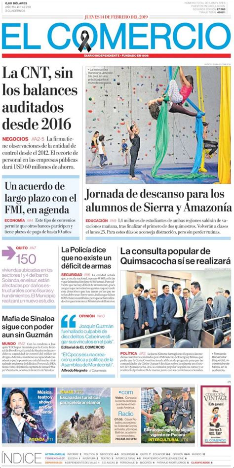 Portada Jueves 14 de Febrero El Comercio  Ecuador ...