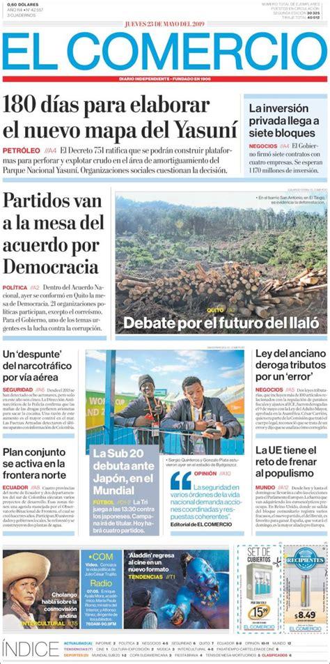 Portada Jueves 23 de Mayo El Comercio  Ecuador    ALnavío ...