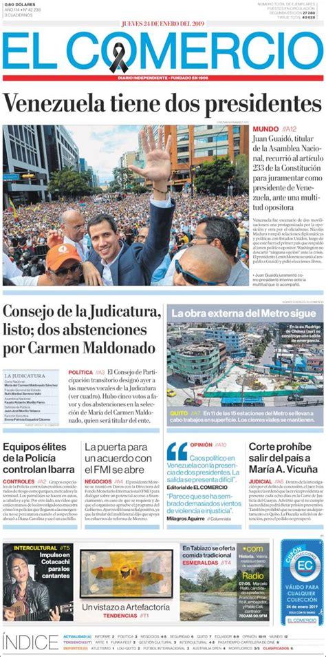 Portada Jueves 24 de Enero El Comercio  Ecuador    ALnavío ...