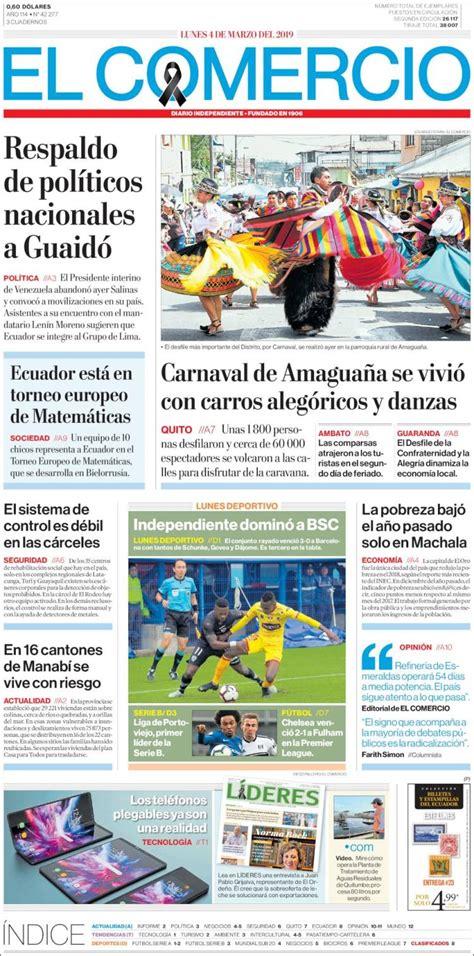 Portada Lunes 04 de Marzo El Comercio  Ecuador    ALnavío ...