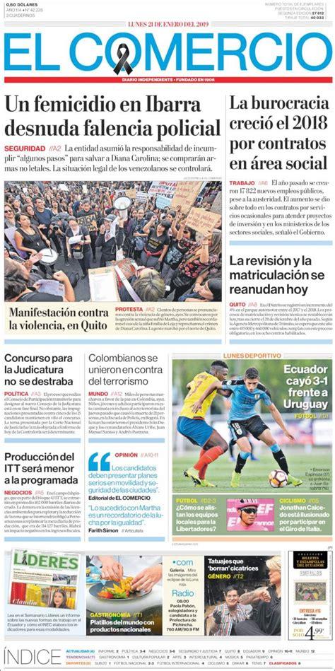 Portada Lunes 21 de Enero El Comercio  Ecuador    ALnavío ...