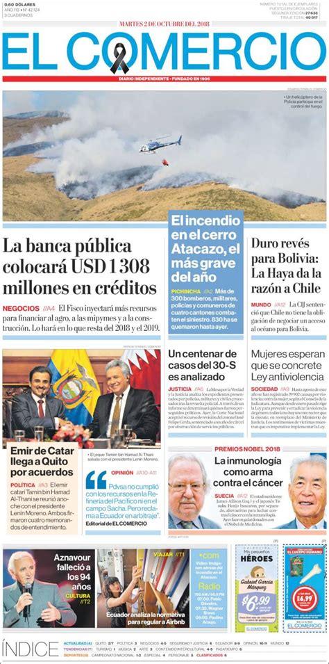 Portada Martes 02 de Octubre El Comercio  Ecuador ...
