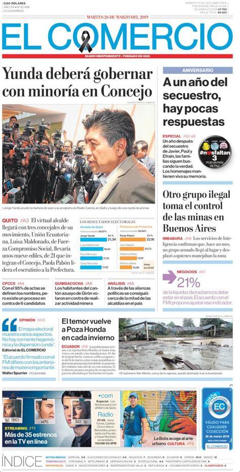 Portada Martes 26 de Marzo El Comercio  Ecuador    ALnavío ...