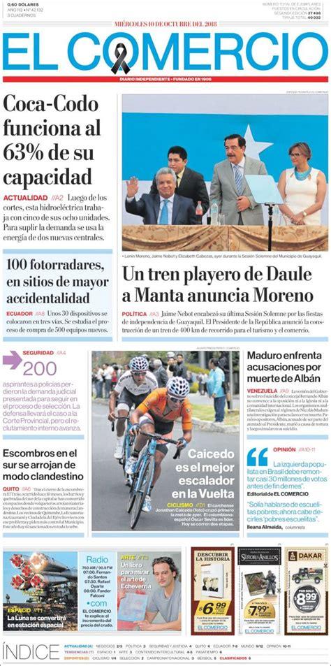 Portada Miércoles 10 de Octubre El Comercio  Ecuador ...