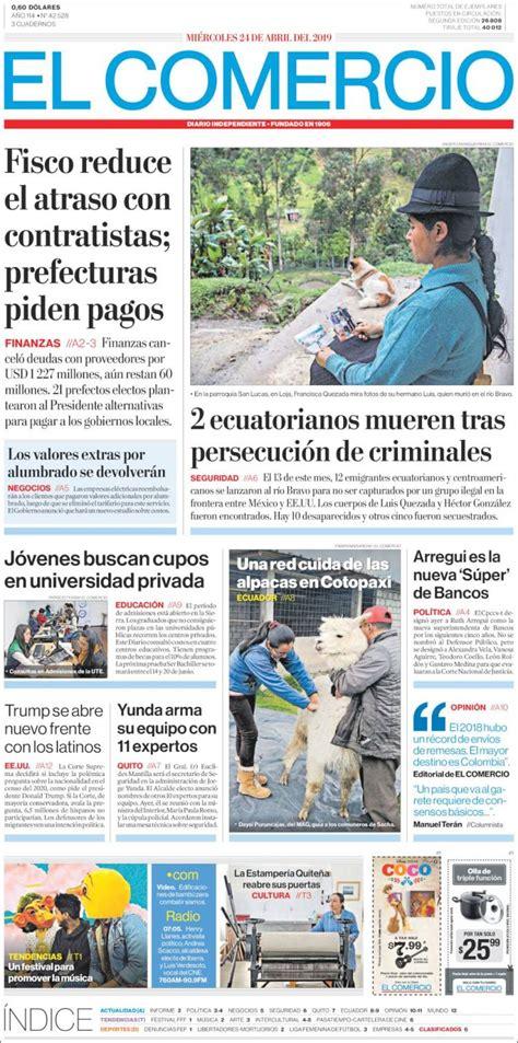 Portada Miércoles 24 de Abril El Comercio  Ecuador ...