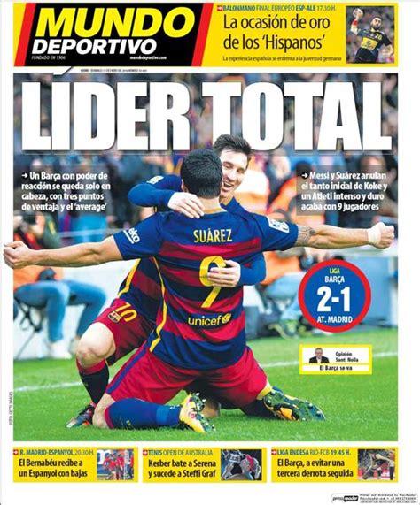 Portada Mundo Deportivo: Líder total   FC Barcelona Noticias