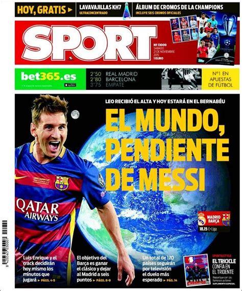 Portada Sport 21/11/2015 | Portadas, Portadas prensa ...