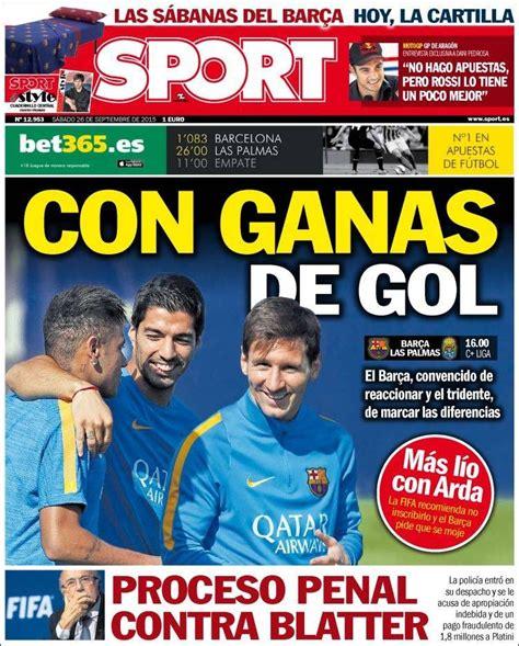 Portada Sport 26/09/2015 | Portadas prensa, Portada sport