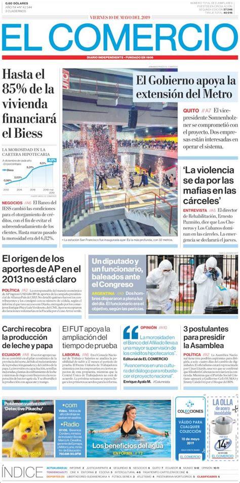 Portada Viernes 10 de Mayo El Comercio  Ecuador    ALnavío ...